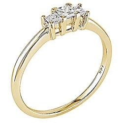 14k Yellow Gold 1/4ct TDW 3-Stone Princess Cut Diamond Ring (H-I, I1)