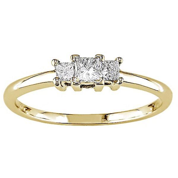 14k Yellow Gold 1/4ct TDW Princess Cut Diamond Ring (H-I, I1)