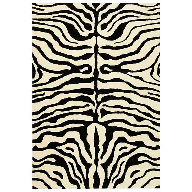 Safavieh Handmade Soho Zebra Ivory/ Black New Zealand Wool Rug (6' x 9')