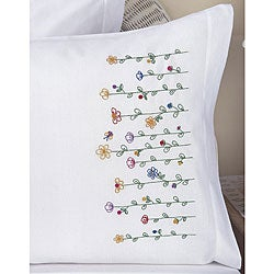 Stamped Embroidery Tall Flowers Pillowcases (Set of 2)