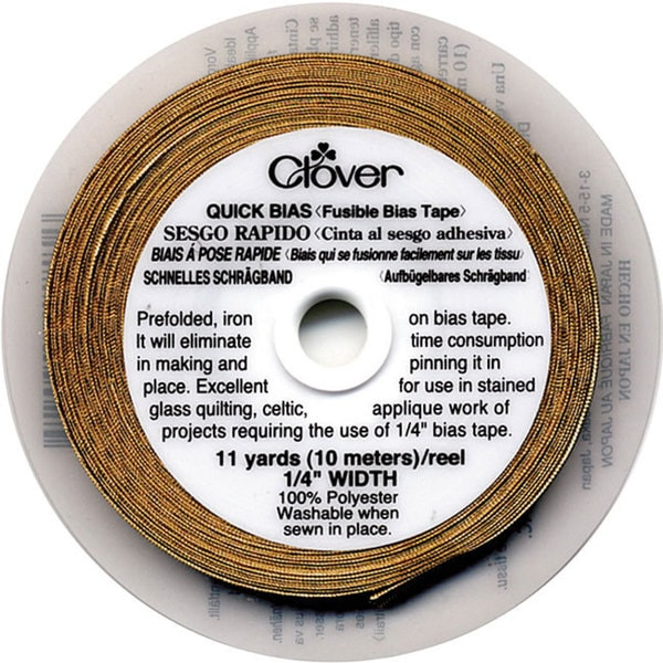 Quick Bias 0.25-in. Gold Lame Fusible Bias Tape