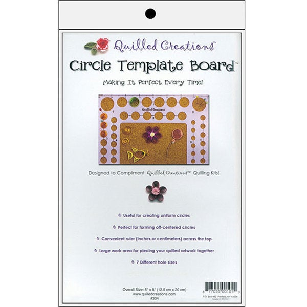 Circle Template Board for Quilling with Seven Different Hole Sizes