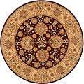 Handmade Treasures Burgundy/ Beige Wool and Silk Rug (8' Round)
