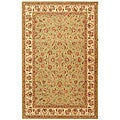 Handmade Light Green/ Ivory Wool and Silk Rug (8'6 x 11'6)