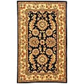Handmade Masterpiece Navy/ Ivory Wool and Silk Rug (4' x 6')