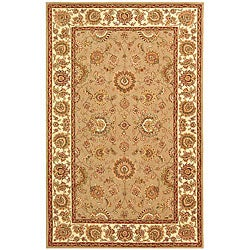 Handmade Persian Court Taupe/ Ivory Wool and Silk Rug (5' x 8')