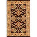 Handmade Treasures Burgundy/ Beige Wool and Silk Rug (5' x 8')