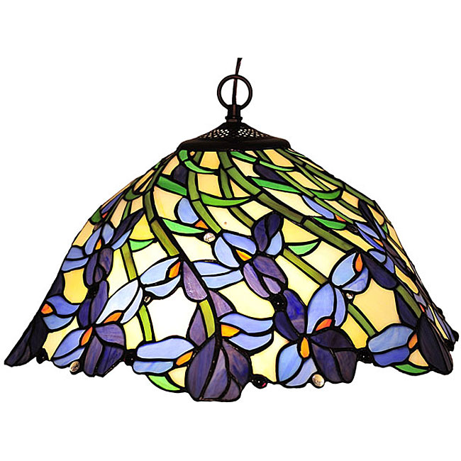 tiffany style leafy design bronze hanging lamp 11493101 overstock. Black Bedroom Furniture Sets. Home Design Ideas