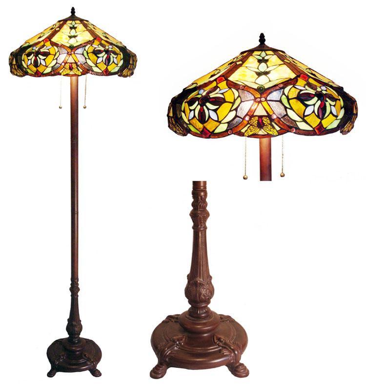 Tiffany-style Victorian Bronze Floor Lamp