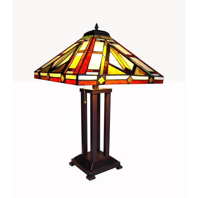 tiffany style mission table lamp with bronze base. Black Bedroom Furniture Sets. Home Design Ideas
