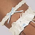 Embroidered 'I Do' Ivory Crystal Wedding Garter