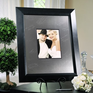 Signature Picture Frame and Engraved Photo Mat with Wooden Frame