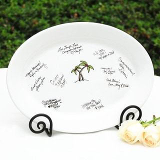 Palm Trees Guest Signature Platter and Easel Set