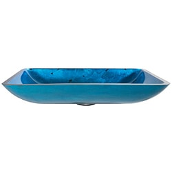 Kraus Blue Galaxy Rectangular Glass Vessel Sink