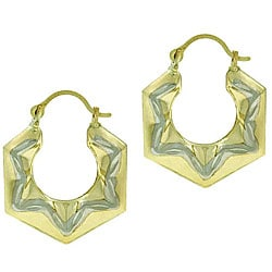 Mondevio Bella D'oro 14kt and Silver Star Hoop Earrings