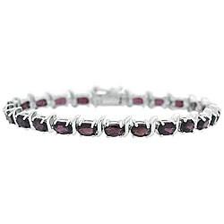 Glitzy Rocks Sterling Silver Garnet Link Bracelet