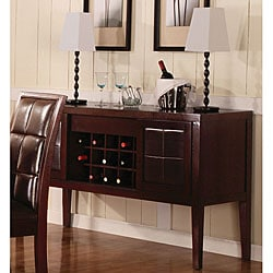Wooden Sideboard with Leather Sliding Doors