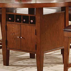 Round Counter Height Dining Table with Wine Storage Base