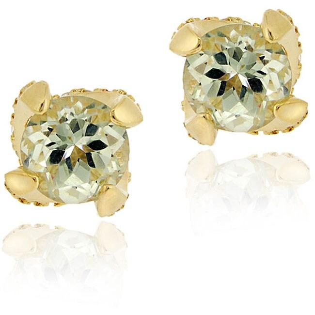 Glitzy Rocks 18k Goldplated Silver Green Amethyst Stud Earrings