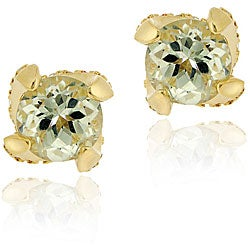 Glitzy Rocks 18k Goldplated Silver Green Amethyst Stud Earrings