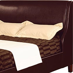 Synthetic Leather Queen-size Wingback Bed