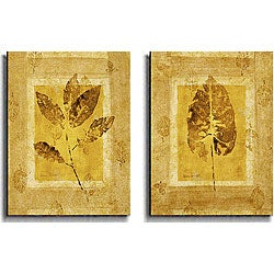 Lanie Loreth 'Golden Glow Leaf' Canvas Art (Set of 2)