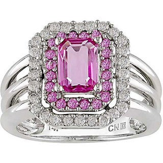 Miadora 14k Gold Pink Sapphire and 1/3ct TDW Diamond Ring (H-I-J, I1-I2)