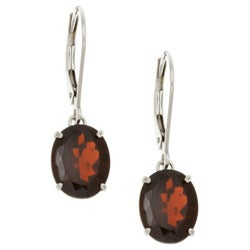 Kabella 14k White Gold Oval Garnet Leverback Earrings