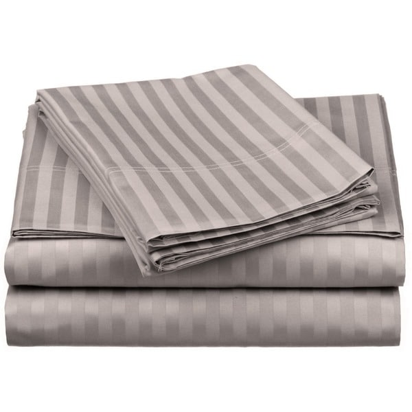 Luxor Treasures Egyptian Cotton 650 Thread Count Olympic Queen Striped Sheet Set
