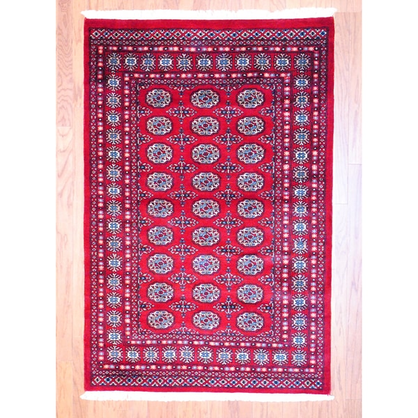 Pakistan Bokhara Rugs In Red: Pakistani Hand-knotted Red/ Black Bokhara Rug (4' X 6