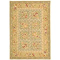 Handmade Bouquet Tiles Green/ Sand Wool and Silk Rug (4' x 6')