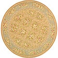 Safavieh Handmade Bouquet Tiles Sand/ Green Wool and Silk Rug (6' Round)