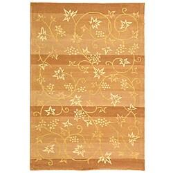 Handmade Vine Stripe Beige Wool and Silk Rug (5' x 8')