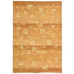 Handmade Vine Stripe Beige Wool and Silk Rug (7'6 x 9'6)