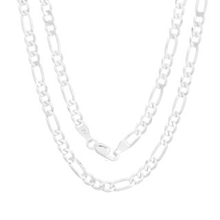 Sterling Essentials Sterling Silver 4MM Diamond-Cut Figaro Chain (18-30 Inch)