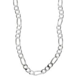 Sterling Essentials Sterling Silver 22-inch Diamond-Cut Figaro Chain (4mm)