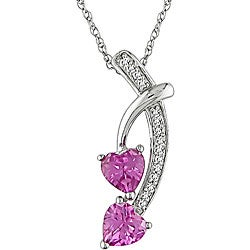 Miadora 10k White Gold Created Pink Sapphire and Diamond Accent Necklace