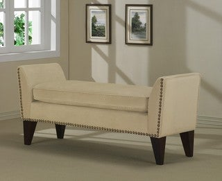 Sand Phoenix Bench with Nailheads