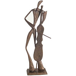 Elongated Bass Player Cast Bronze Statuette