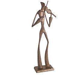 Elongated Violin Player Cast Bronze Statue