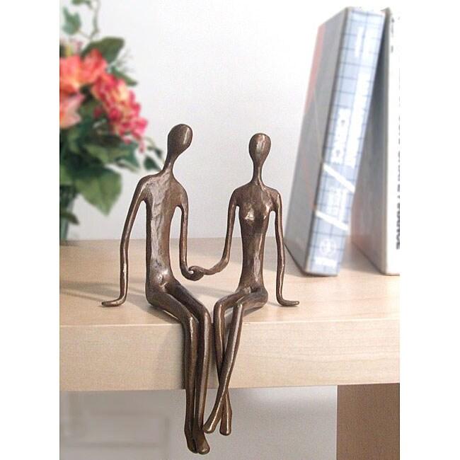 Sitting Couple Cast Bronze Sculpture