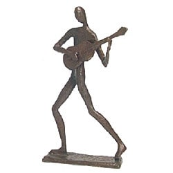 Cast Bronze Standing Guitar Player Sculpture