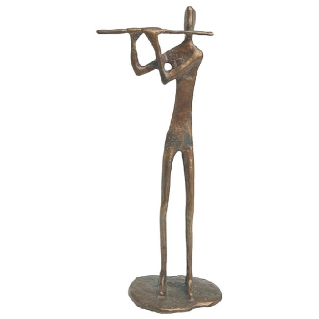 Flute Player Cast Bronze Sculpture