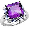 Malaika Sterling Silver Genuine Amethyst and Tanzanite Ring