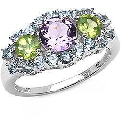Malaika Sterling Silver Amethyst, Peridot and Blue Topaz Ring