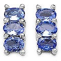 Malaika 10k White Gold Tanzanite Oval 3-stone Earrings