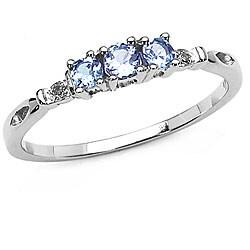 Malaika 10k White Gold Tanzanite and Diamond 3-stone Ring