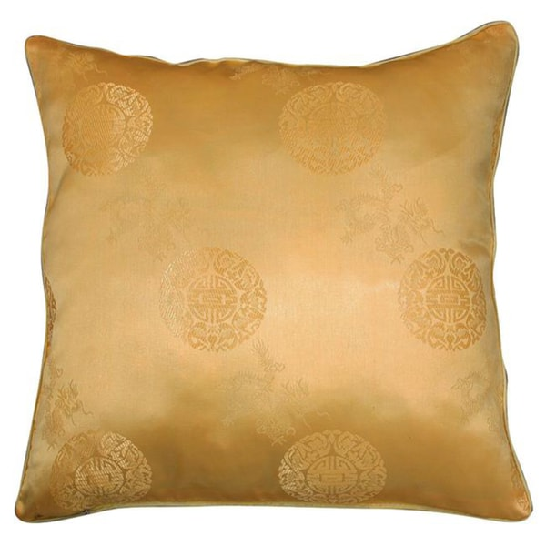 Chinese Dragons and Lotus Flower Gold Cushion Cover