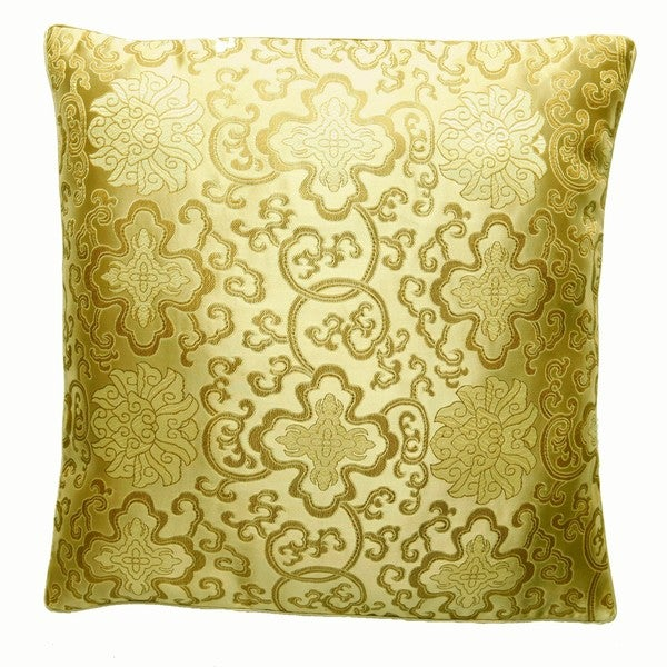 Handmade Chinese Lotus Flower Gold Cushion Cover