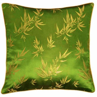 Chinese Bamboo Leaves Silky Green Cushion Cover
